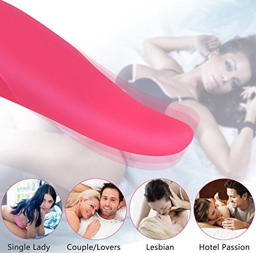 Enlove Medizinischem Silikon Stoßvibrator mit 8 Swing Vibrationsmodi Zunge Sexspielzeug für Frauen Paare G punkt Vibratoren für Sie Klitoris Vibrator mit Wiederaufladbares Oral Sex Toy Rose - 3