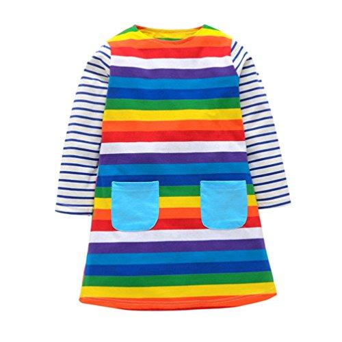 Amlaiworld Mädchen langarm Regenbogen gestreift druck kleider kinder shirt kleidung,1-6 Jahren (5 Jahren, Blau) (Kleid Gestreiften Blau Shirt)
