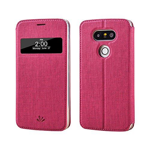 LG G5 Hülle, G5 smart Hülle, Meiya Premium PU Ledertasche Wallet Hülle, Flip-Fenster automatische Schlaf / Wake-Funktion Schutzhülle für LG G5 Rot