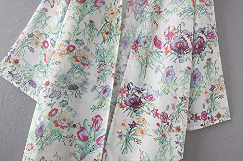 Clode® Femmes Floral Print Chiffon Loose Shawl Kimono Cardigan Top Cover Up Shirt Blouse Blanc