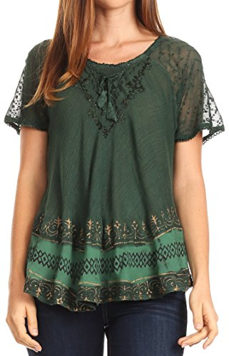 Sakkas 17780 - Diane Kurzarm Slim Top Bluse mit Pailletten Stickerei & Golden Print - Forest Green - OS