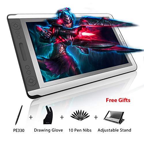 HUION Kamvas GT-156HD V2 Ecran à Stylet de Tablette de Dessin numérique Graphique avec Câble 3-en-1 Amélioré, 14 Touches Express et 1 Barre Tactile