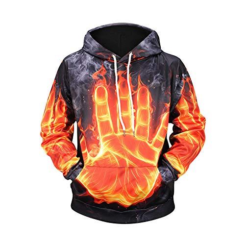 NIEWEI-YI Unisex 3D Druck Hoodie Kapuzenpullover Langarm Sweatshirt Kapuzenjacke Mit Taschen Hoodie Feuerpalme,S