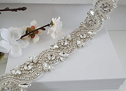 ShinyBeauty Diamante Applique Rhinestone Applique Crystal Bridal Sash Wedding Pearl Beaded Applique Wedding Belt= One Yard RA245-Pink
