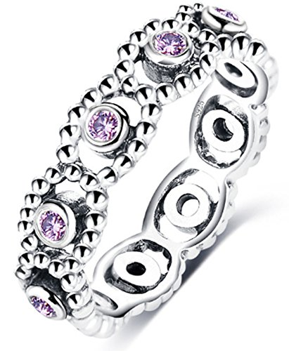 SaySure 925 Sterling Silver LOVE ROMANCE Amethyst Ring (SIZE : 8)