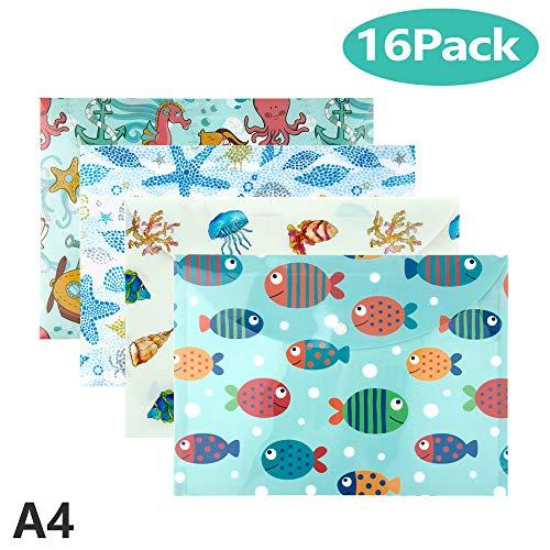 Mooklin roam cartelline portadocumenti in a4, 16 pezzi animali dell'oceano sacchetto di documenti portatile con apertura a busta e bottone per uffici cosmetici accessori da viaggio