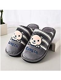 GAOHUI Slippers Los Hombres Otoño Invierno Antideslizante Térmico Artificial Zapatillas De Terciopelo Caricatura Amantes' Zapatos,Gris,44-45