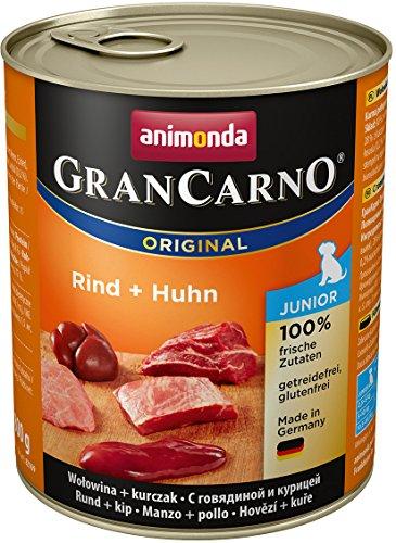 Animonda GranCarno Hundefutter Junior, Nassfutter für Hunde im Wachstum, Rind und Huhn, 6er Pack (6 x 800g)