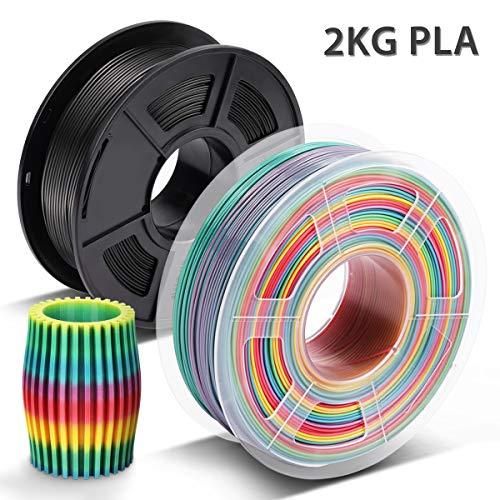 PLA Filament Rainbow1.75 mm, 3D Warhorse PLA Filament for 3D Drucker,Maßgenauigkeit +/- 0,02 mm,2 KG(Spools) PLA Schwarz+Rainbow