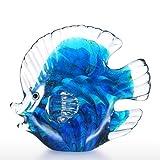 Tooarts Scultura in Vetro di Forma Pesci Tropicali, Colore Blu 13cm