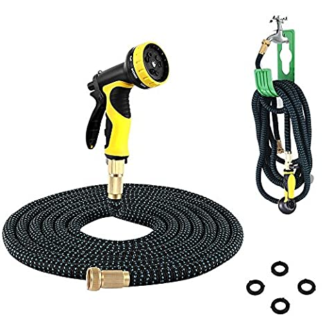 PLUSINNO® Expandable Garden Water Hose FULL SET, Heavy Duty Flexible Natural Latex Hose Pipe with Shut Off Valve Solid Brass Connector, Hose Hanger and 9-pattern Spray Nozzle (50 Feet, Black&Blue)