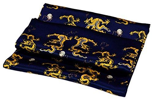 Bees Knees Fashion Bufanda - Amarillo Azul Dragón Impreso Doble Capa Larga Bufanda De Seda Pura