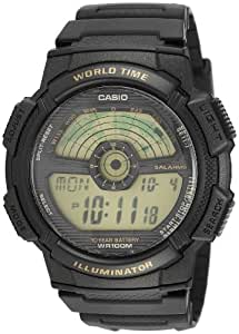 Casio Men's AE1100W-1BV Black Rubber Quartz Watch with Digital Dial