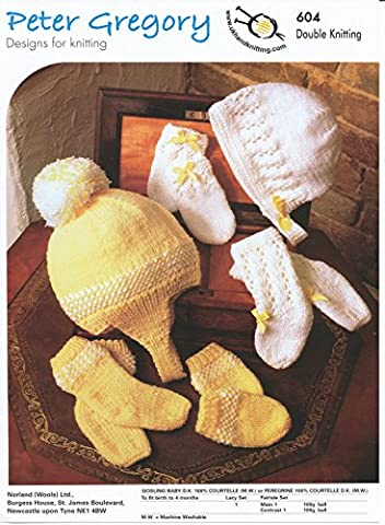 Peter Gregory Double Knitting DK Pattern - 604 Baby's Lacy or Fairisle Hat Mittens & Sock Sets