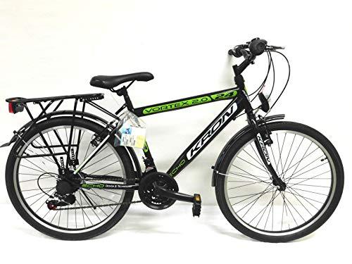 "KRON 24 Zoll Fahrrad Kinderfahrrad Fahrrad citybike jungenfahrrad citybike 24\"" Rad 21 Gang Shimano schwarz grün Neu"