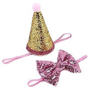UKCOCO animal domestique d'anniversaire Chapeau et cheveux Band Accessoires en forme de couronne à paillettes solide Petit papillon Bandeau (Rose)