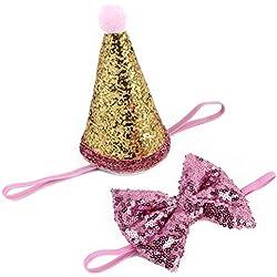 UKCOCO Accesorios para el Pelo para Mascotas el Pelo y el Sombrero de Cumpleaños Corona de lentejuelas para Perro Gato Cachorro Mascotas (rosa)