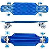 FunTomia Longboard aus Kunststoff BigBoard mit LED Rollen MACH1 Kugellager (Blau)