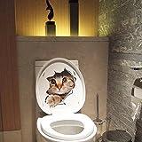 Vinilo Pegatina Impermeable 3D decoracion, Etiqueta de La Pared PVC Adhesivo Decorativo Perros y Gatos para Inodoro, Refrigerador, Frigorífico, Baño