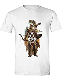 Assassins Creed T-shirt homme Bayek avec Senu coton blanc Origine