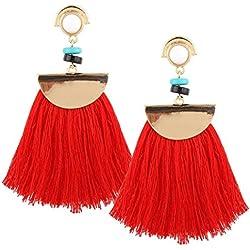Pendientes Largos de Mujer SMARTLADY Moda Vendimia Elegante Bohemio Borla larga Aretes (Rojo)
