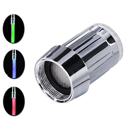SHABEI LED Wasserhahn Temperatur,Glow Wasser Stream Mini Wasser Powered Temperatur Sensor 3 Farben ändern LED Wasserhahn Licht -