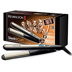 Remington S6500 Piastra Capelli Sleek & Curl, Innovativo Rivestimento in Ceramica, Display Digitale, da 150° a 230°, Pronta all'uso in 15 sec