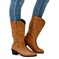 Cowboy Boots Ladies Wide Calf Boots Women Mid Block Heel 5.3 cm Winter Fashion Cowgirl Western Shoes PU Leather Non-Slip White Black Brown Size 3-9