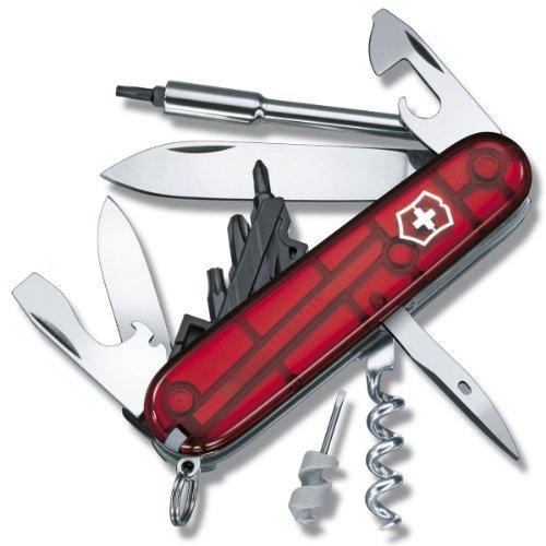 Victorinox Taschenmesser Cyber Tool S (27 Funktionen, Klinge, Bit-Schlüssel/Halter) rot transparent -