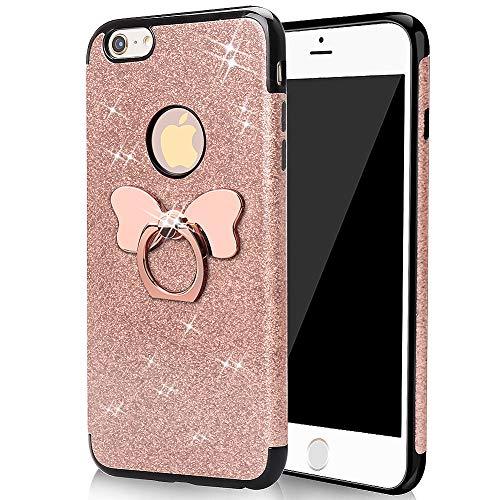 Handyhülle iPhone 6S Plus/iPhone 6 Plus Hülle Silikon Glitzer Rose Gold Mädchen Hülle mit Ring Ständer Frau Ultra Slim Weich Hülle Schutzhülle TPU Bumper Case ()