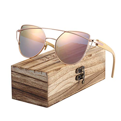 DAIYSNAFDN Bambus Cat Eye Sonnenbrillen polarisierte Metallrahmen Holz Gläser Lady Fashion Sun Shades Polarized Gold Pink Wood