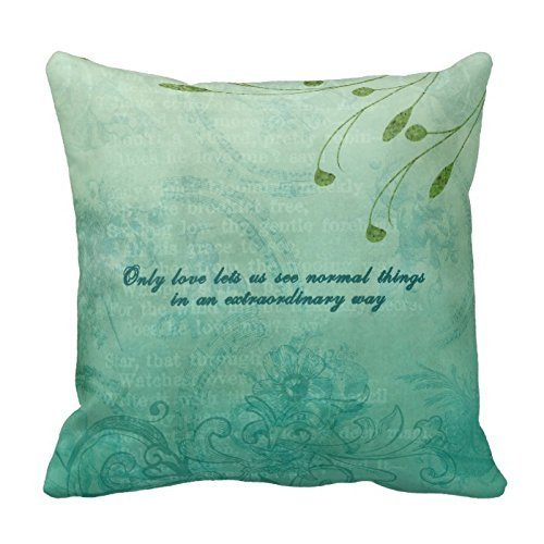 GONIESA Love is A Great Power Green Pillow Decorative Inspirational Quotes Pillow Cover Square Throw Pillow Case Cover Quotes Zippered Pillowcase Pillow Cover 16x16 Inch/40cmx40cm -