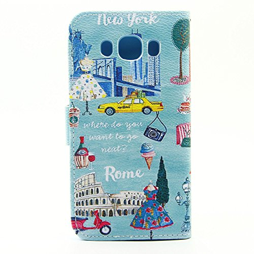 Cozy Hut Schutzhülle / Cover / Hülle / Handyhülle / Etui für Samsung Galaxy J5 Bunt Muster Design Folio PU Leder Tasche Case Cover im Bookstyle mit Standfunktion Kredit Kartenfächer mit Weich TPU Inne London Paris und Rom
