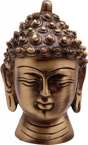 Two Moustaches Brass Buddha Head Showpiece | Home Decor |