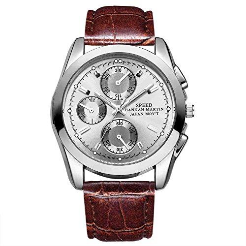 Herren Uhren,L'ananas Sport Stil Anolog Quarz 3 Kleine Zifferblätter Dekor Leuchtend Bambus Korn PU Leder Armbanduhren Wristwatches (Braun + Silber)