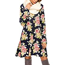 Meaneor Vestido Mujer Otoño Invierno Tunica Floral Manga Larga Casual Elegante