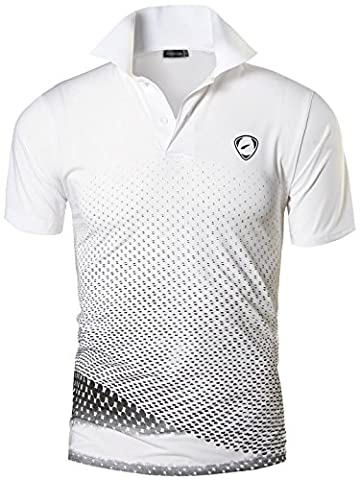 Jeansian Homme De Sport Outdoor Manches Courtes Polos Quick Dry Men Casual Wicking Breathable Running Short Sleeved Fitness Polo T-Shirt Tops LSL195 WhiteBlack M(L)