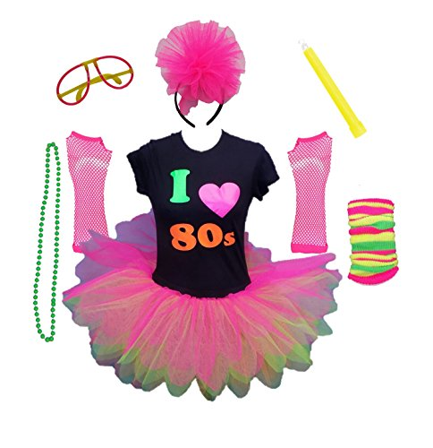 I Love The 80s Ladies Tutu Top Party Set Legwarmers Gloves Headband Glow Stick Beads (Large)