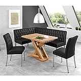 Pharao24 Esszimmer Sitzgruppe mit Eckbank und ausziehbarem Tisch Schwarz und Eiche Honigfarben