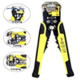 #10: Techtest Professional Heavy Duty 8-Inch Wire Stripper Cutter Stripping Tool Automatic Self Adjusting Cable Crimper Cutting Plier For Industry Line Terminal Bolt Stranded 3 In 1 Crimping Multifunctional Electric Yellow