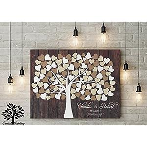 70x50 cm, Leinwanddruck-Gästebuch, Hochzeitsbaum, Wedding Tree, Rustikales Gästebuch, Leinwanddruck - Baum, Keilrahmen und Holz Motiv
