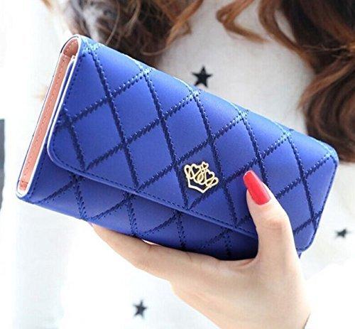 Preisvergleich Produktbild Lsv-8 Damen Geldbörse Mädchen Lang Geldbeutel Geldklammern Portemonnaie Brieftasche Stilvoll Elegant Krone PU Leder