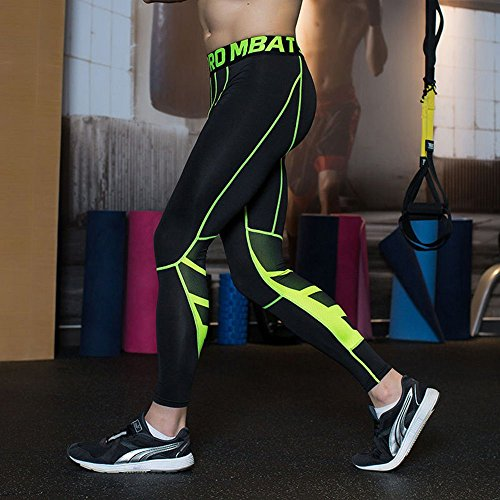 UrChoiceLtd® GYM QX Mens Running SPORTS Pants Mens Compression Wear Workout Clothes Quick Dry Breathable Comfortable Leggings Base Elite Fitness Thermal Wow (L, Green)