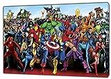Personaggi Marvel supereroi foto/immagine stampa su tela incorniciata Wall Art Home Decoration, 20 x 12 inch (50 x 30 cm) -38mm depth