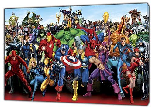 Marvel Superhéroes Carácter fotográfico impreso en lienzo enmarcado para decoración de pared de casa, 12 x 8inch(30 x 20 cm) -18mm depth