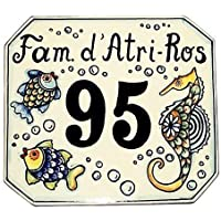 CERAMICHE D'ARTE PARRINI - Italian Ceramic Art Pottery Tile Custom House Number Civic Address Plaques Decorated Fish Hand Painted Made in ITALY Tuscan