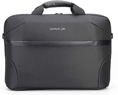 Scarters Lite #1 | SplashProof Laptop Messenger Bag Cum Briefcase for up to 15.6 inch Laptop/MacBook/Tablet for Office, Business ~ Jet Black