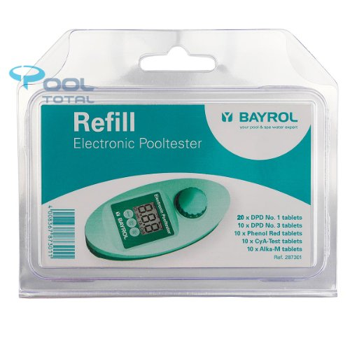 Nachfüllpack Elektronischer Pooltester von BAYROL | insg. 60 Tabletten | 20x DPD No. 1, 10x DPD No. 3, 10x Phenol Rot, 10x CyA-Test + 10 Alka-M