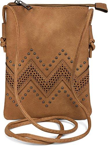 styleBREAKER minibolso de bandolera con motivo recortado en zigzag y remaches, bolso de hombro,...