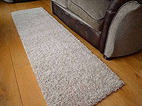 Shaggy Thick Modern Luxurious Suede Beige Rug High Pile Long Pile Soft Pile Anti Shedding Available in 8 Sizes (66cm x 230cm 2ft 2